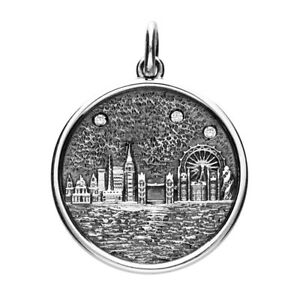 925 Sterling Silver London Skyline with Cubic Zirconia Pendant Necklace LARGE