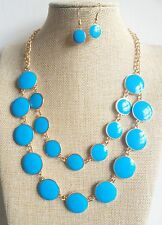 Retro 50's 60's Gold Plated Blue Round Pendant Enamel Necklace Earrings Set