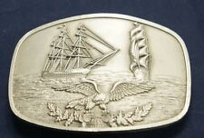 USS Constiution - USCG Eagle Pewter Belt Buckle