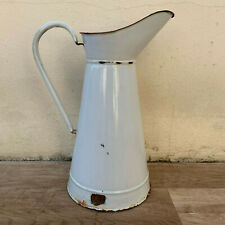 Vintage French Enamel pitcher jug water enameled white 0603194