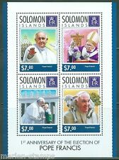SOLOMON ISLANDS 2014 1st ELECTION  ANNIVERSARY OF POPE FRANCIS SHEET MINT  NH