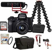 EOS M50 Mirrorless Camera Vlogger Kit 15-45mm Lens with Video Stabilizer Steady
