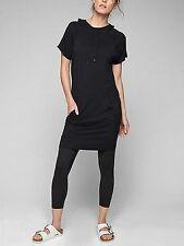 Athleta Coaster Short Sleeve Sweatshirt Dress in Black NEW $89 MP M P