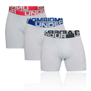 Under Armour Mens Charged Cotton 6IN Boxerjock - Grey Sports Running Gym