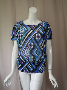 Chico's Print Short Sleeve Blouse Top size 1 Excellent