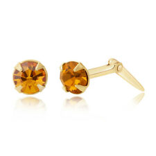 9ct yellow gold 3.5mm round crystal Andralok stud earrings / Gift box