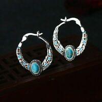 Ethnic Turquoise Silver Plated Ear Hoop Clip Women Drop Dangle Wedding Earrings