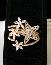 A Star is Born CZECH Gold Plated RHINESTONE & GLASS CLAMPER BRACELET signed