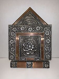 Vintage Mail & Key Holder Decorative Embossed Aluminum & Copper Boho Art Deco