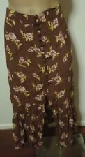 SPORTSGIRL Long/Maxi Brown Floral Button Front Skirt Ruffle Hem Sz 6 RRP $99.95