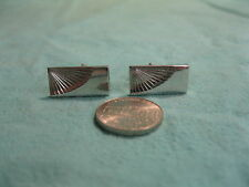 Vintage Silver Plated Rectangle Corner Fan Cufflink Swank        DG9