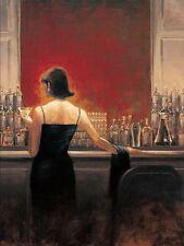 Brent Lynch: Evening Lounge Keilrahmen-Bild Leinwand Frau Bar Kult