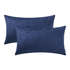 "2Pcs Navy Blue Bolster Covers Pillows Shells Dyed Soft Chenille Car Sofa 12x20"""