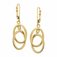 Just Gold Double Oval Drop Earrings in 14K Gold