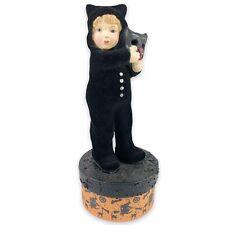 Bethany Lowe Halloween Child Black Cat Figurine Mask Costume Trick Or Treat Box
