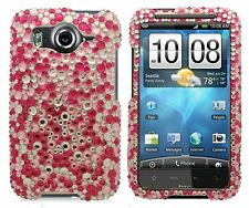 For HTC Inspire 4G Diamond Crystal Bling Hard Case Phone Cover Pink Star Dust
