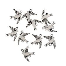 10pcs birds Tibetan antique Silver beads charms pendant Fit European Bracelet