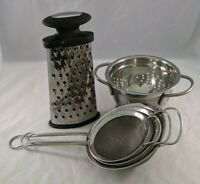 Metal Utensils Strainers & Cheese Grader Lot of 5 For Kitchen Cooking
