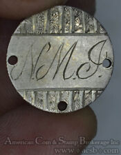 1875 Love Token Engraved NMJ silver on Liberty Seated Dime Necklace Ready