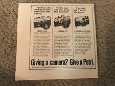 Vintage 1974 PETRI CAMERA Print Ad FT EE AUTOMATIC FT II 2 & COLOR 35E RARE