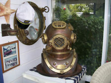 Vintage Brass & Copper Diving Helmet Table Divers Decor Scuba SCA US Halloween