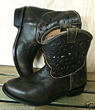 Ash washed black distressed Julian fancy Cut-out Cowboy Boots  37.5/ 7.5