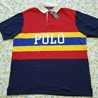 BIG & TALL Mens Polo Ralph Lauren Big Pony Colorblock Polo Shirt Red/Multi