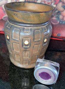 """Scentsy Wax Warmer """"STRATA"""" Brown Retired Ceramic Geometric ~ Demo No Box"""