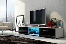 WHITE with BLACK GLOSS front TV Cabinet Stand Unit, 2 Doors Blue LED, UK STOCK!