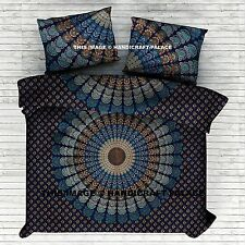 Indian Cotton Peacock Mandala Double Bed Quilt Duvet Doona Cover Blanket Boho