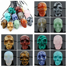 1Pcs Natural Hand Carved Emstone Crystal Healing Charm Skull Pendant Necklace