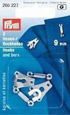 PRYM  2 Paar Hosen- und Rockhaken silberfarbig 9mm mit Stegen zum Annähen 265227