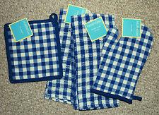 SET 4  KITCHEN TOWELS/ OVEN MITT/POTHOLDER/ COBALT BLUE/WHITE/CHECK NWT