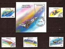 49T1 TANZANIE 1 Bloc N° a181 et 5 timbres oblitérés : Avions de chasse
