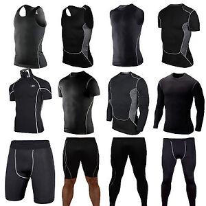 Mens Compression Thermal Under Base Layer Tops T Shirt Skin Shorts Pants Fitness