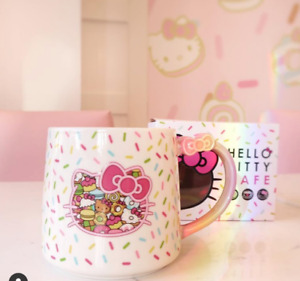 Brand New in Box Hello Kitty Cafe Exclusive Sprinkles Bow Coffee Mug Sanrio