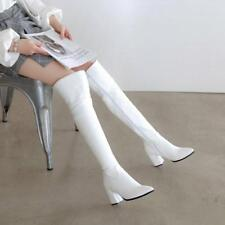 Fashion Women Pointy Toe Chunky Heels Zipper Over Knee Knight Boots Casual Shoes