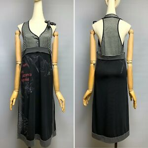 COP COPINE Dress Size 2 Striped Top Floral Japan Lily Print Sleeveless Jersey