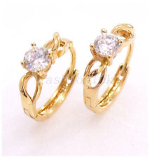 Women Girl CZ Cubic Zirconia 18K Yellow Gold Plated Small Hoop Earrings 14mm