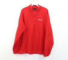 Marmot Mens Large Outdoor Hiking Half Zip Polartec Fleece Pullover Sweater Red