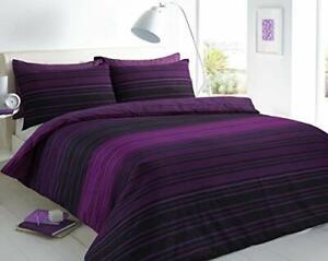 Bedding Set, Textured Stripe Purple Duvet Cover & Pillowcase Set - Double