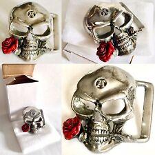 "Rare Vintage Signed Alchemy Gothic Skull  Pewter Belt Buckle (2.5""/7cm, 75g)"