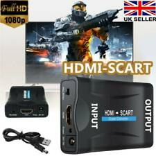 USB HDMI to SCART Adapter HD 1080P Video Audio Converter Cable TV SkyBox PS2 UK