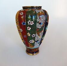 Japanese Miniature Cloisonne Meiji Vase Goldstone Phoenix Bird Lobed