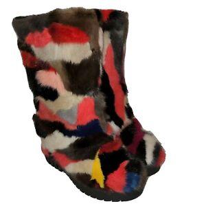 Real Mink Fur Women's Mid-calf Boots Multi-Color Adorable Patch Fur Size US 7