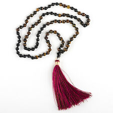 Bohemian necklace natural stones and silk tassel made in Costa Rica