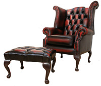 Chesterfield Queen Anne High Back Wing Chair Oxblood Leather + Footstool
