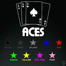 Aces High Playing Card Poker Ace of Spades Vinyl Decal Free Ship Veteran made