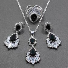 Ring Earrings Necklace SET Jewelry CZ Black Opal Sterling Silver