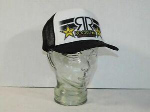 New Rockstar Energy Drink Black White Party Trucker Mesh Snapback Hat Promo Cap